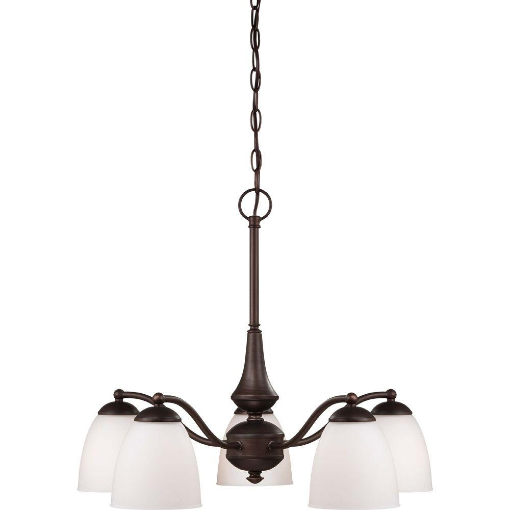 Glomar 5-Light Prairie Bronze Chandelier with Frosted Glass Shade-HD-5163 - The