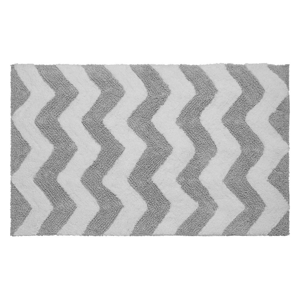 Reversible Cotton Soft Zigzag Gray 21 in. x 34 in. Bath
