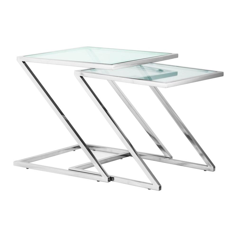 ZUO Jaunt Clear Glass Nesting Side Table