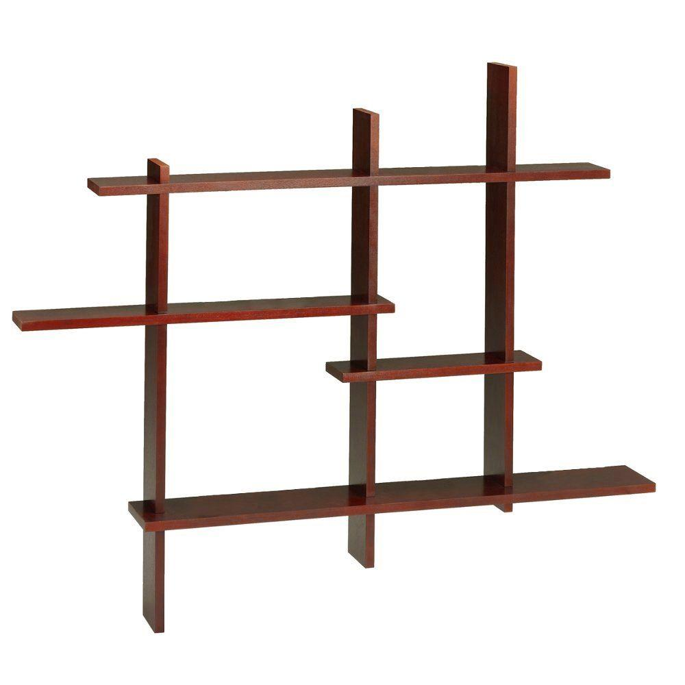 Home Decorators Collection 41 in. x 48.5 in. Dark Cherry Deluxe Standard Display Shelf