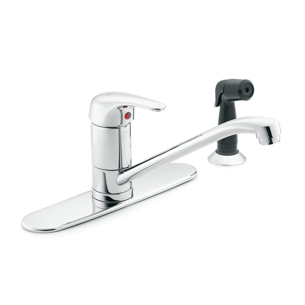 moen mdura commercial standard kitchen faucet with side sprayer in chrome