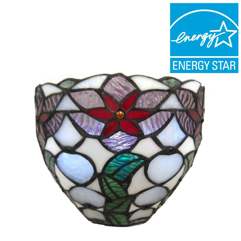 It's Exciting Lighting Stained Glass Poinsettia Festive Bowl Battery Operated 3-LED Sconce