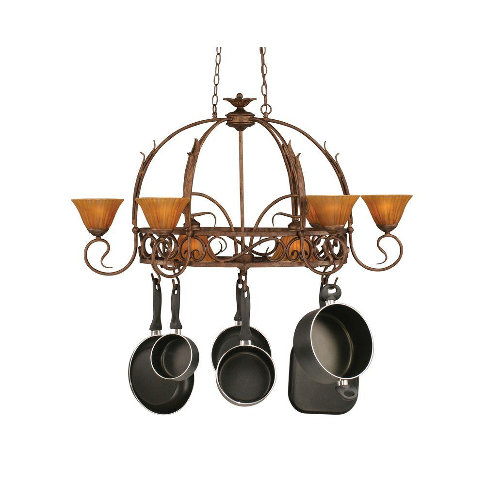 Concord Series 8-Light Bronze Chandelier with Tiger Glass Shade