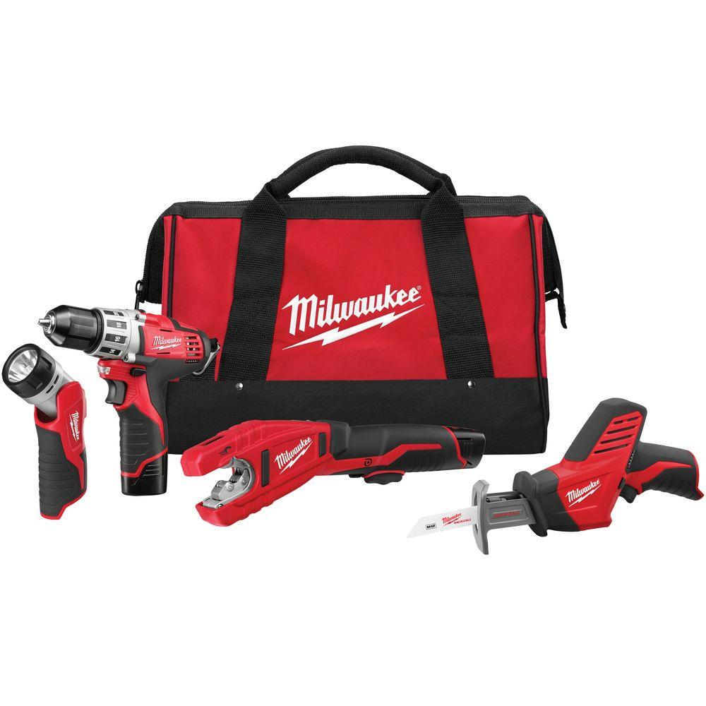M12 12-Volt Lithium-Ion Cordless Drill/Copper Tubing Cutter/Hackzall/Light Combo