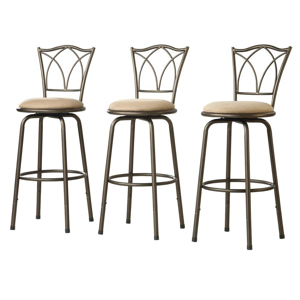 Home decorators collection 24 in adjustable bar stool with double cross back set of 3 Home depot wood bar stools