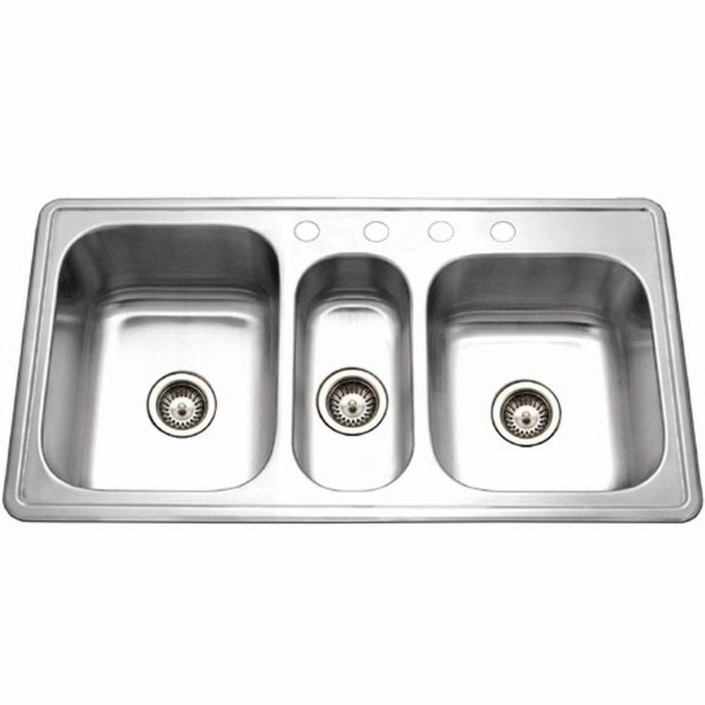 Houzer Premiere Gourmet Series Drop-In Stainless Steel 41 in. 4-Hole Triple Bowl Kitchen Sink