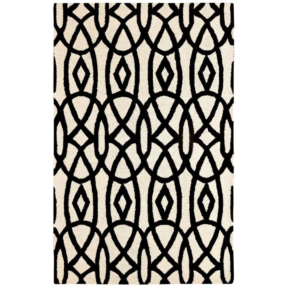 Dynamic Rugs Palace Ivory/Black 2 ft. x 4 ft. Indoor Area