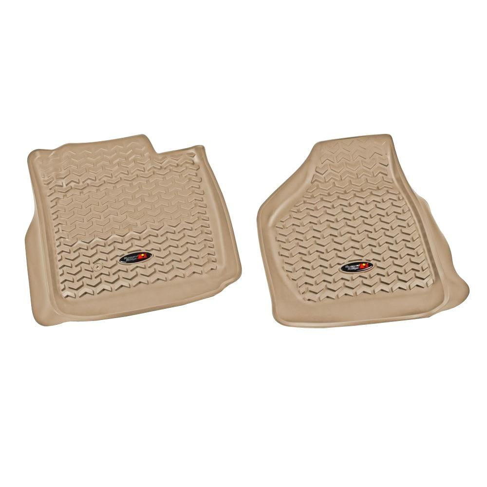 Rugged Ridge Floor Liner Front Pair Tan 2008-2010 Ford F250/350 Expt Man