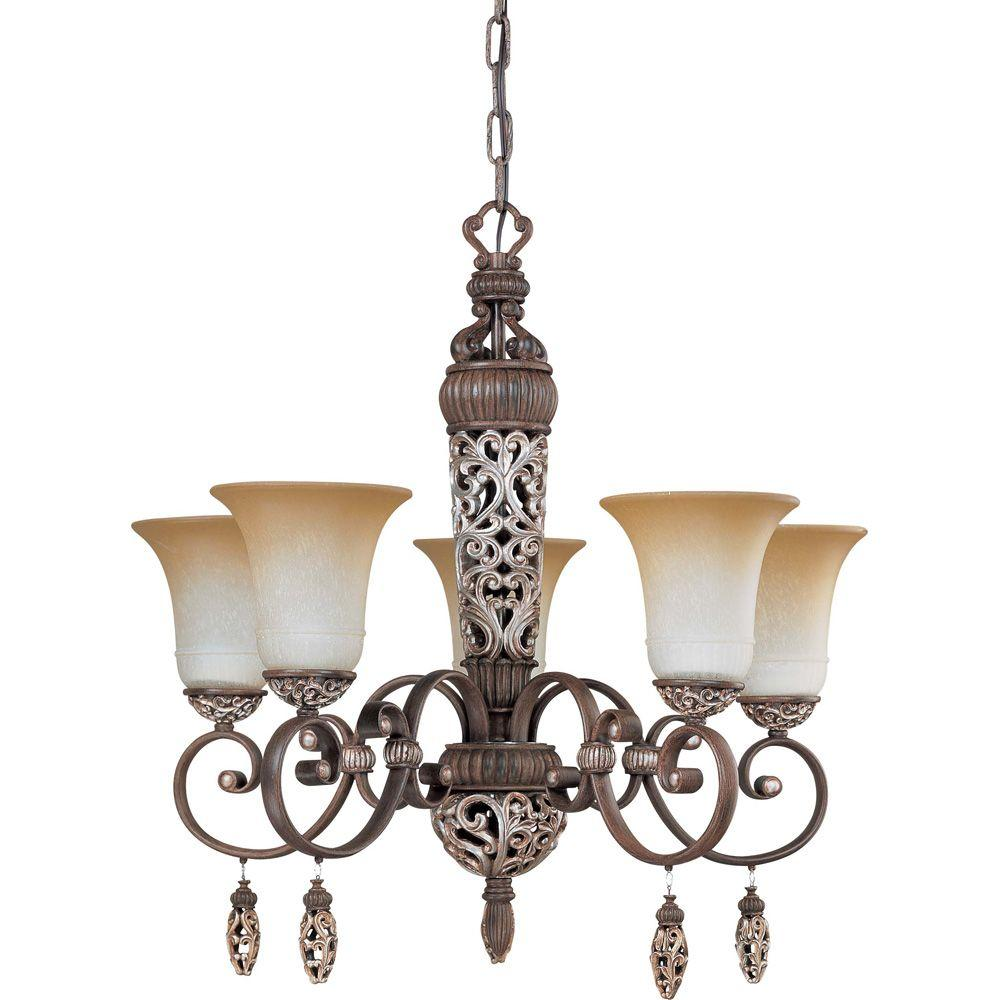 Glomar Palermo Cappuccino 5 Light Chandelier With Amaretto Glass-DISCONTINUED