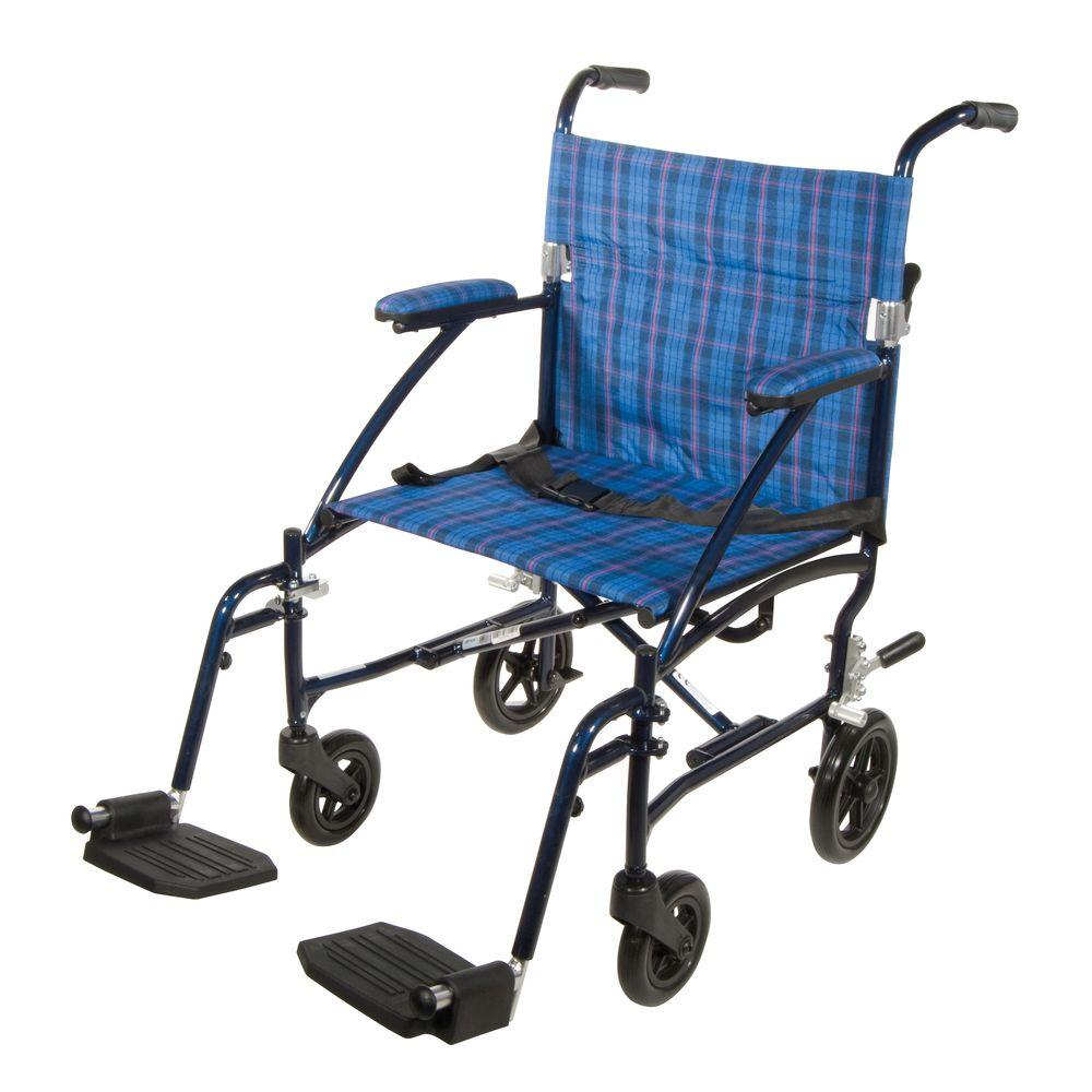 Drive Fly Lite Ultra Lightweight Transport Wheelchair in Blue