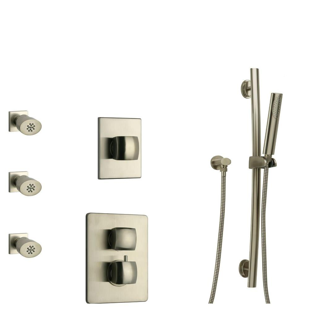 LaToscana Lady 30 in. 3-Jet Shower System with Slide Bar Hand-Shower and Thermostatic Valve in Brushed Nickel