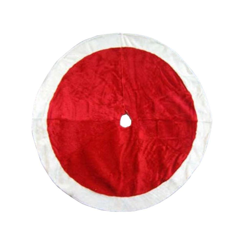 Home Accents Holiday 48 in. Red Plush Christmas Tree Skirt with Fur Trim