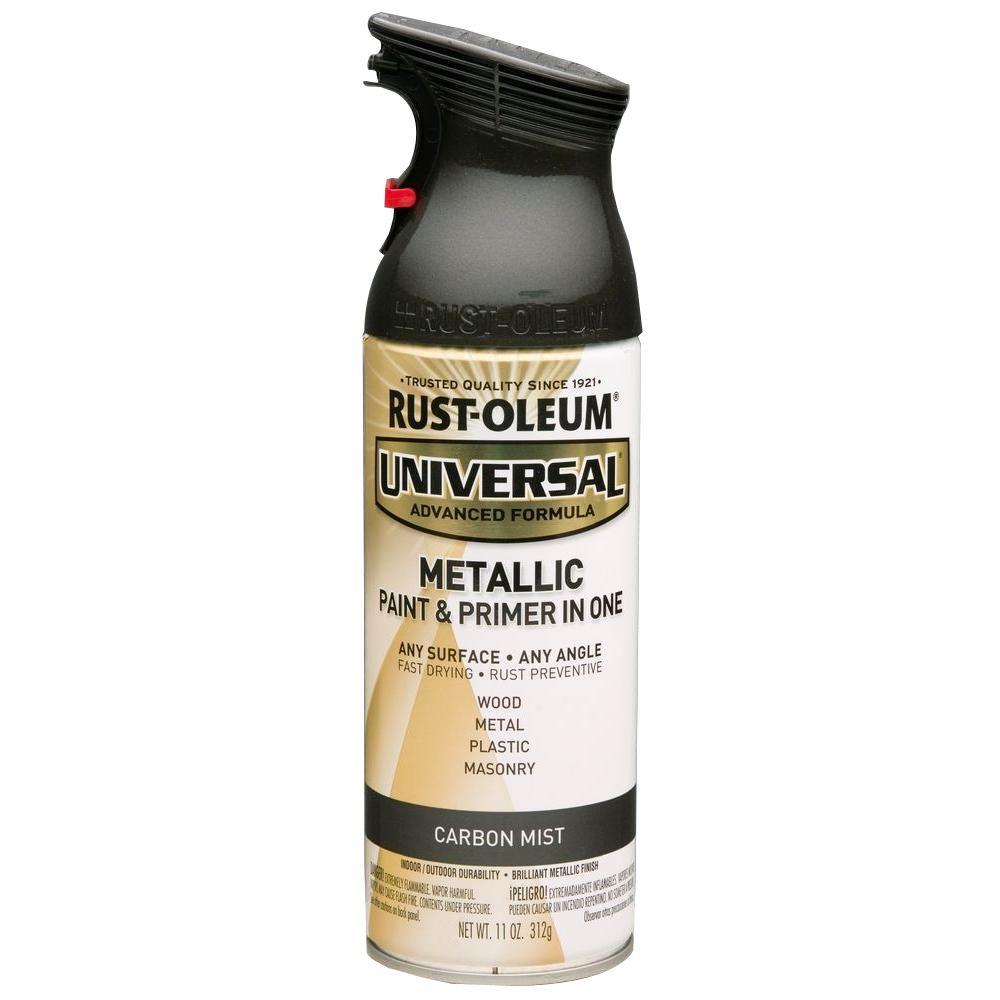 Spray Paint: Rust-Oleum Universal Paint 11 oz. All Surface Metallic Carbon Mist Spray Paint and Primer in One (6-Pack) 261413