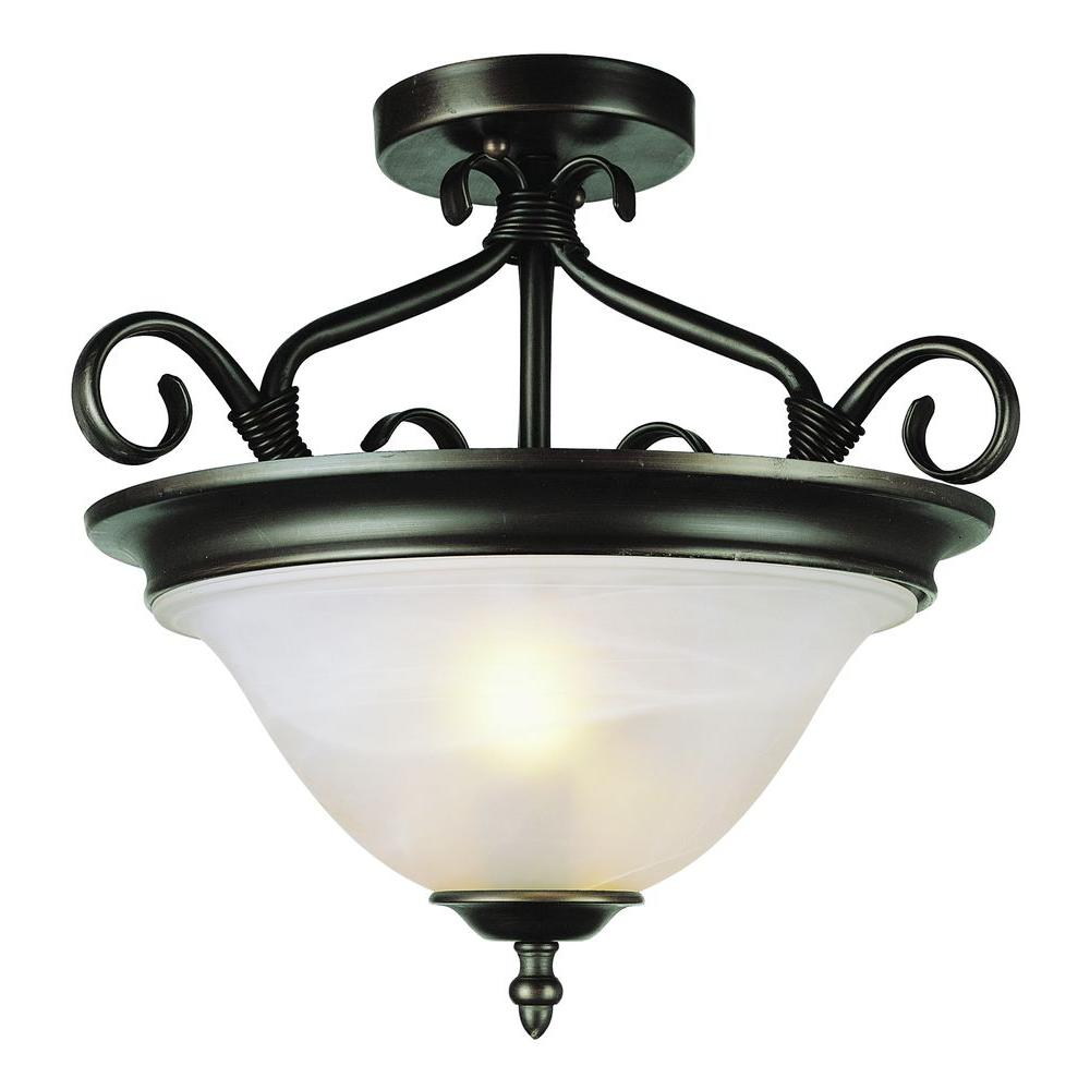 Stewart 2-Light Rubbed Oil Bronze Incandescent Semi-Flush Mount Light