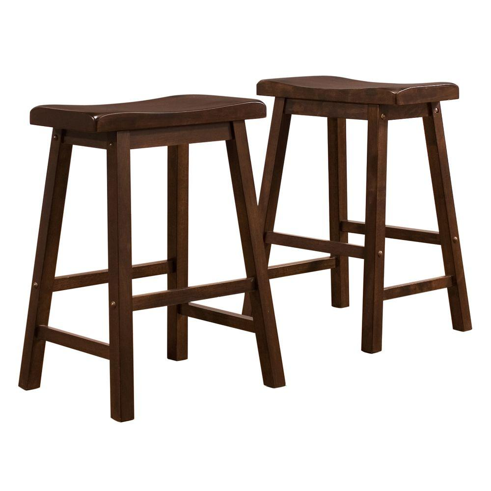 Home Decorators Collection 24 in. H Warm Cherry Saddleback Stools (Set of 2) - DISCONTINUED