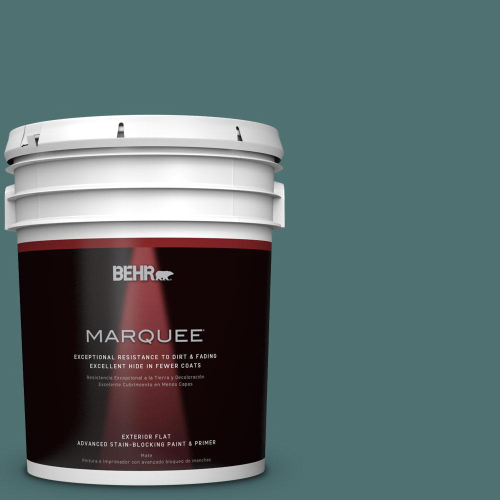 BEHR MARQUEE 5-gal. #S440-6 Tealish Flat Exterior Paint-445305 - The Home