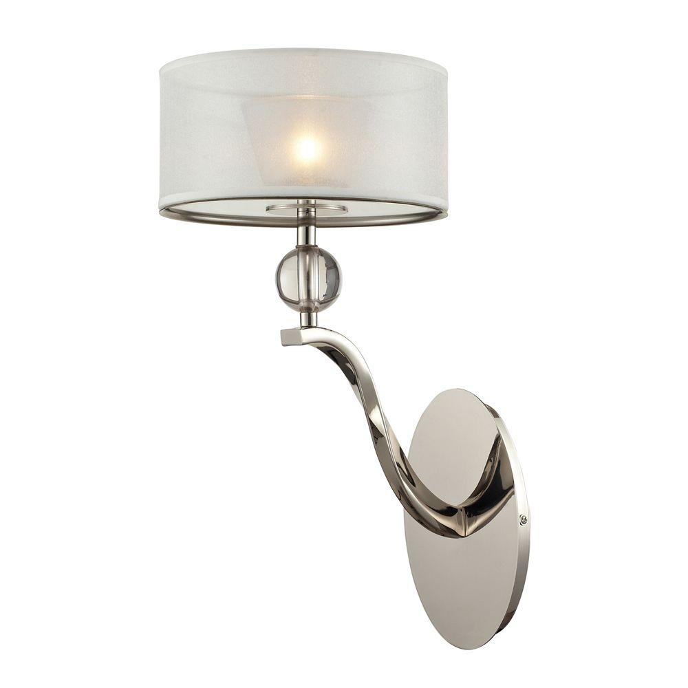 Titan Lighting Corisande 1-Light Polished Nickel Sconce-TN-7974 - The Home Depot
