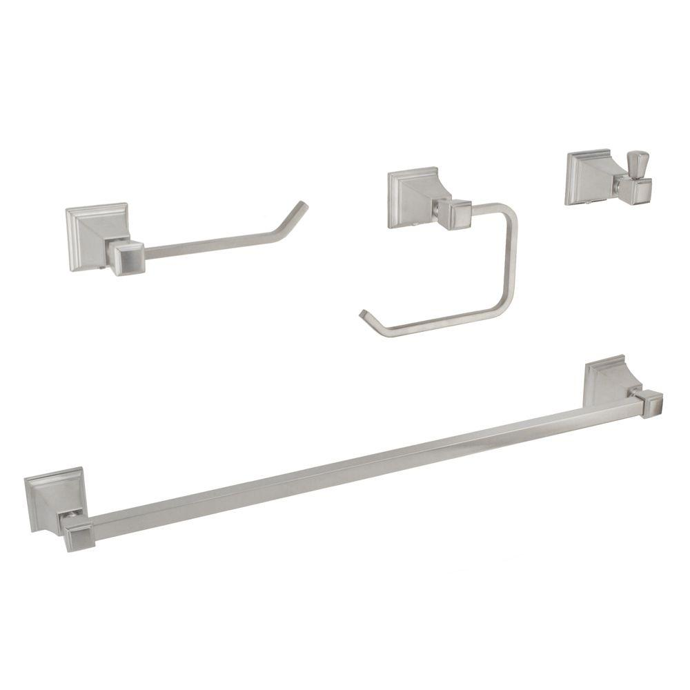 Fontaine Patera 4-Piece Bathroom Accessory Set in Brushed Nickel-DISCONTINUED