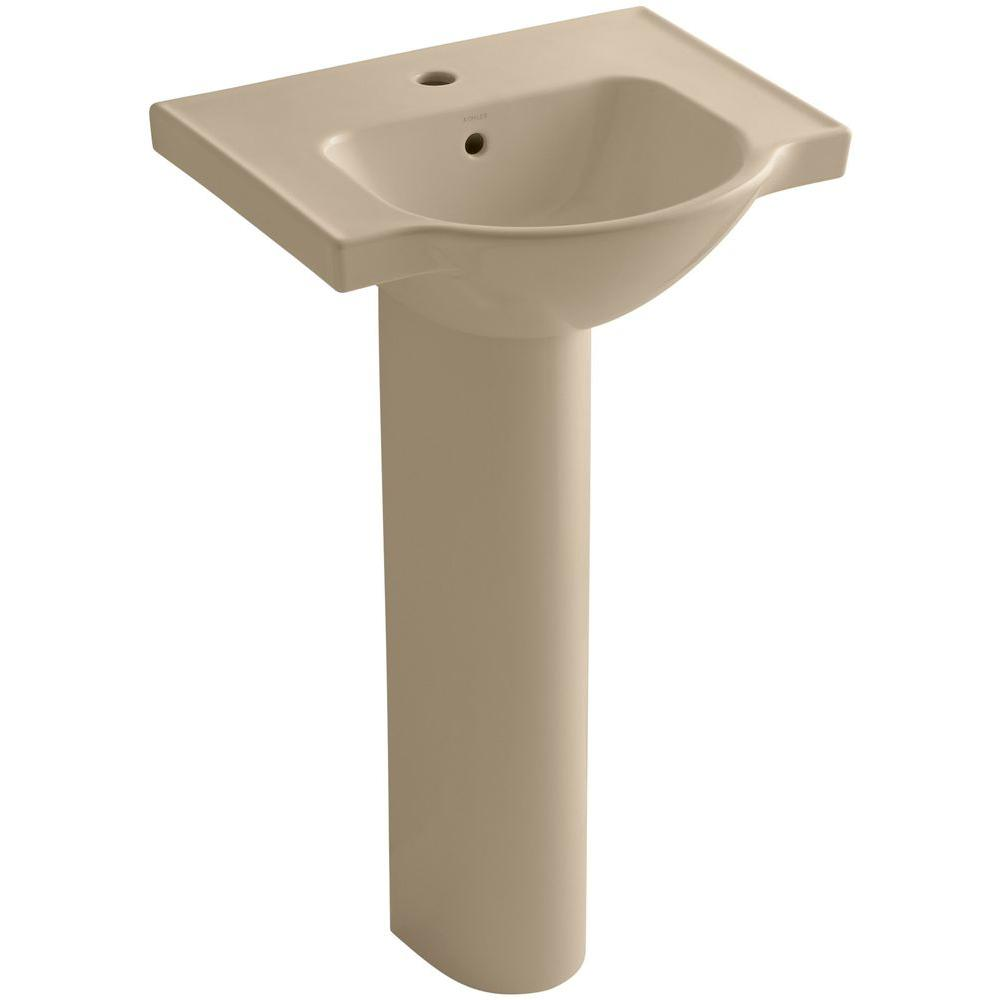 KOHLER Veer Vitreous China Pedestal Combo Bathroom Sink in Mexican Sand with Overflow Drain
