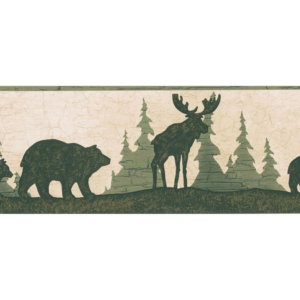 Brewster 6.75 in. H x 12 in. W Mountain Animal Silhouettes Border Sample