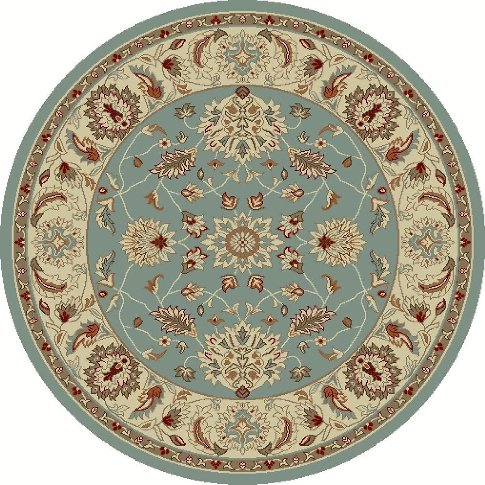 Round Rugs: Concord Global Trading Chester Oushak Blue 5 Ft. 3 In