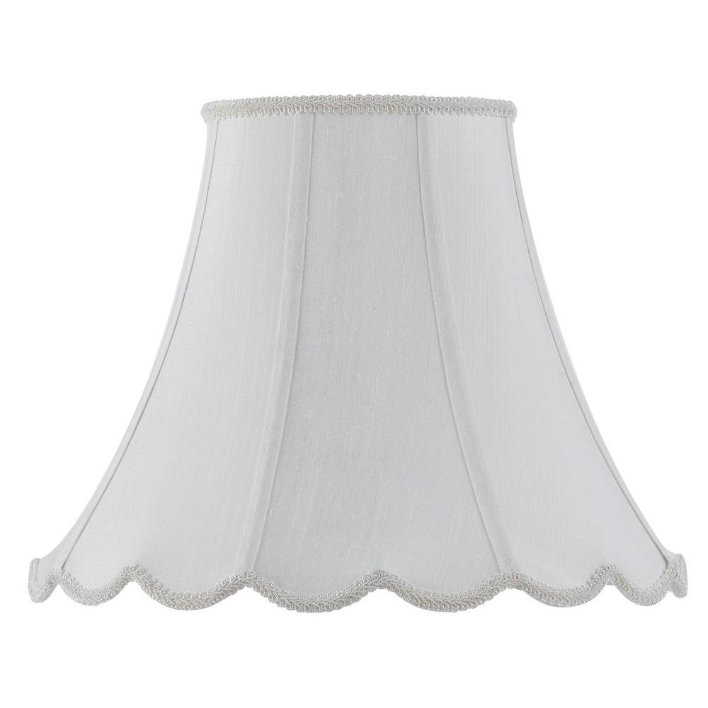 10 in.White Fabric Vertical Piped Coolie Shade