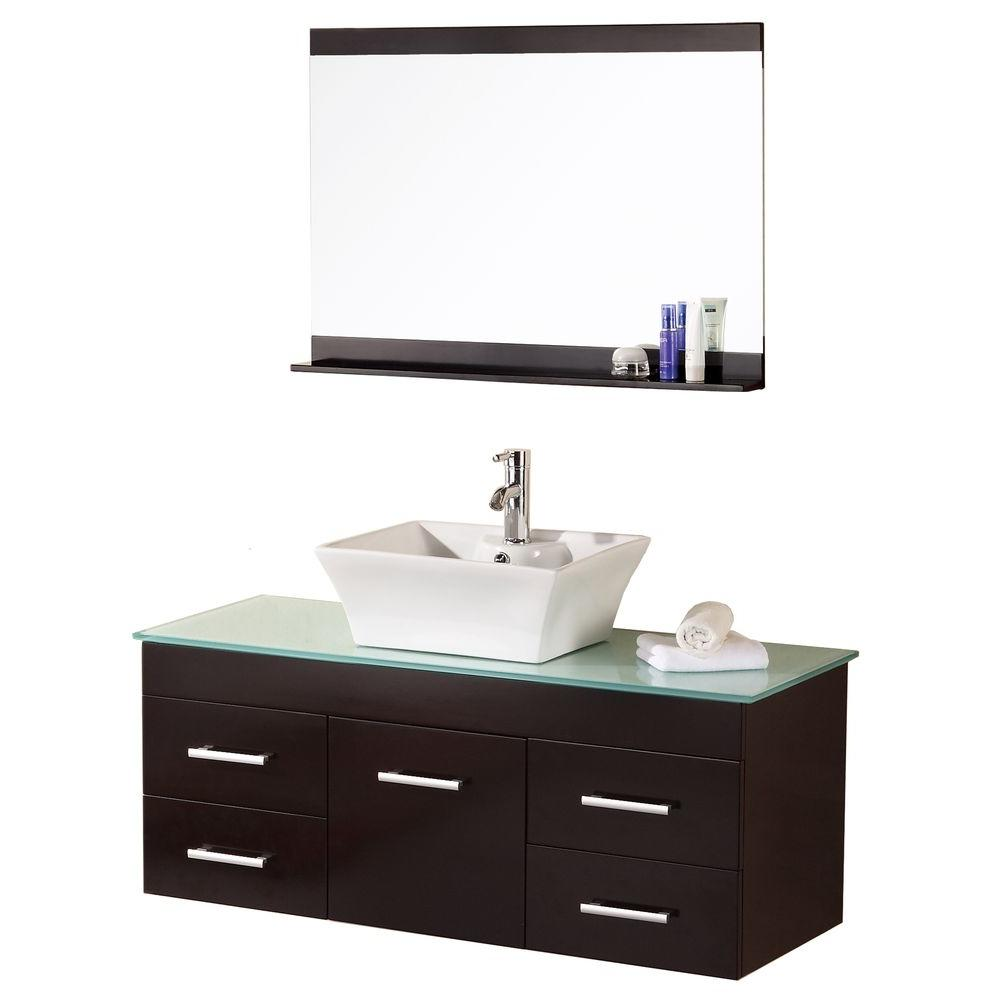 Design Element Madrid 48 in. W x 20 in. D Vanity in Espresso with Glass Vanity Top and Mirror in Mint