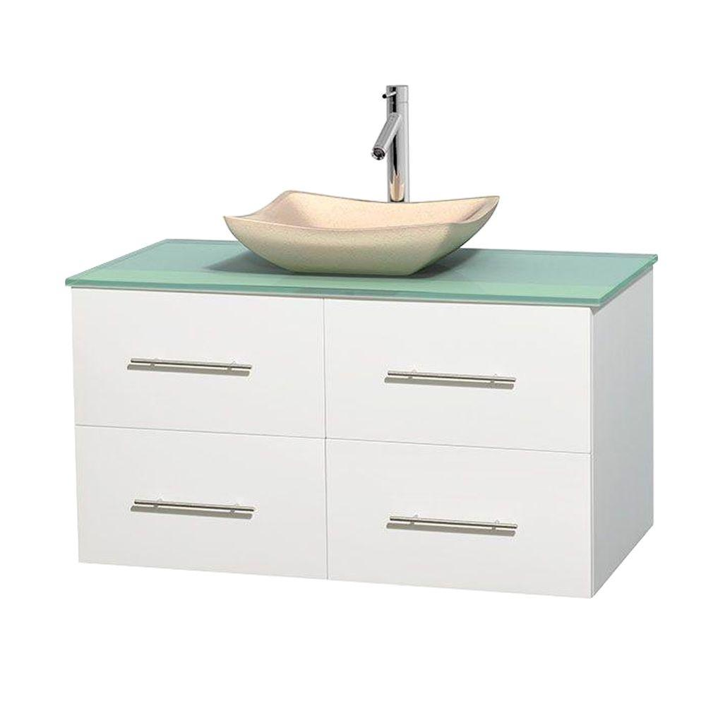 Centra 42 in. Vanity in White with Glass Vanity Top in