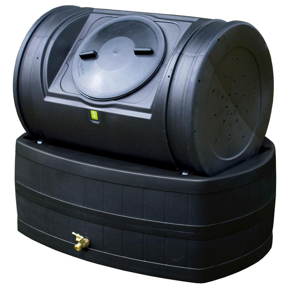 Good Ideas 7 cu. ft. Compost Tumbler with 47 gal. Rain Barrel Base in Black