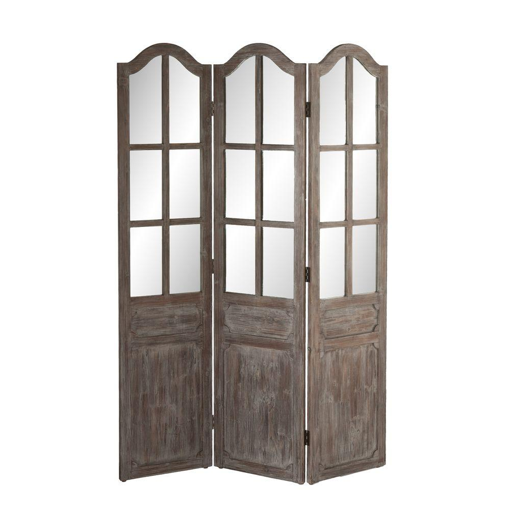Southern Enterprises 68 in. x 47 in. 3-Panel Petra Screen Room Divider in Gray