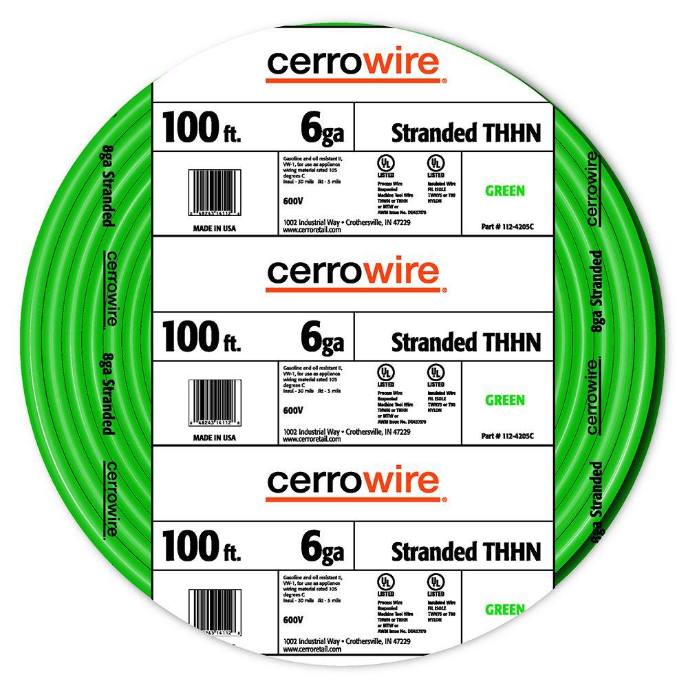 Cerrowire 100 ft. 6-Gauge Green Stranded THHN Wire-112-4205C - The Home