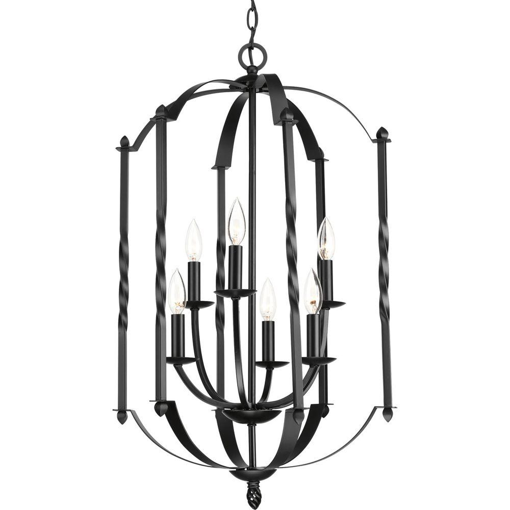 Progress Lighting Greyson Collection 6-Light Black Chandelier-P3577-31 - The