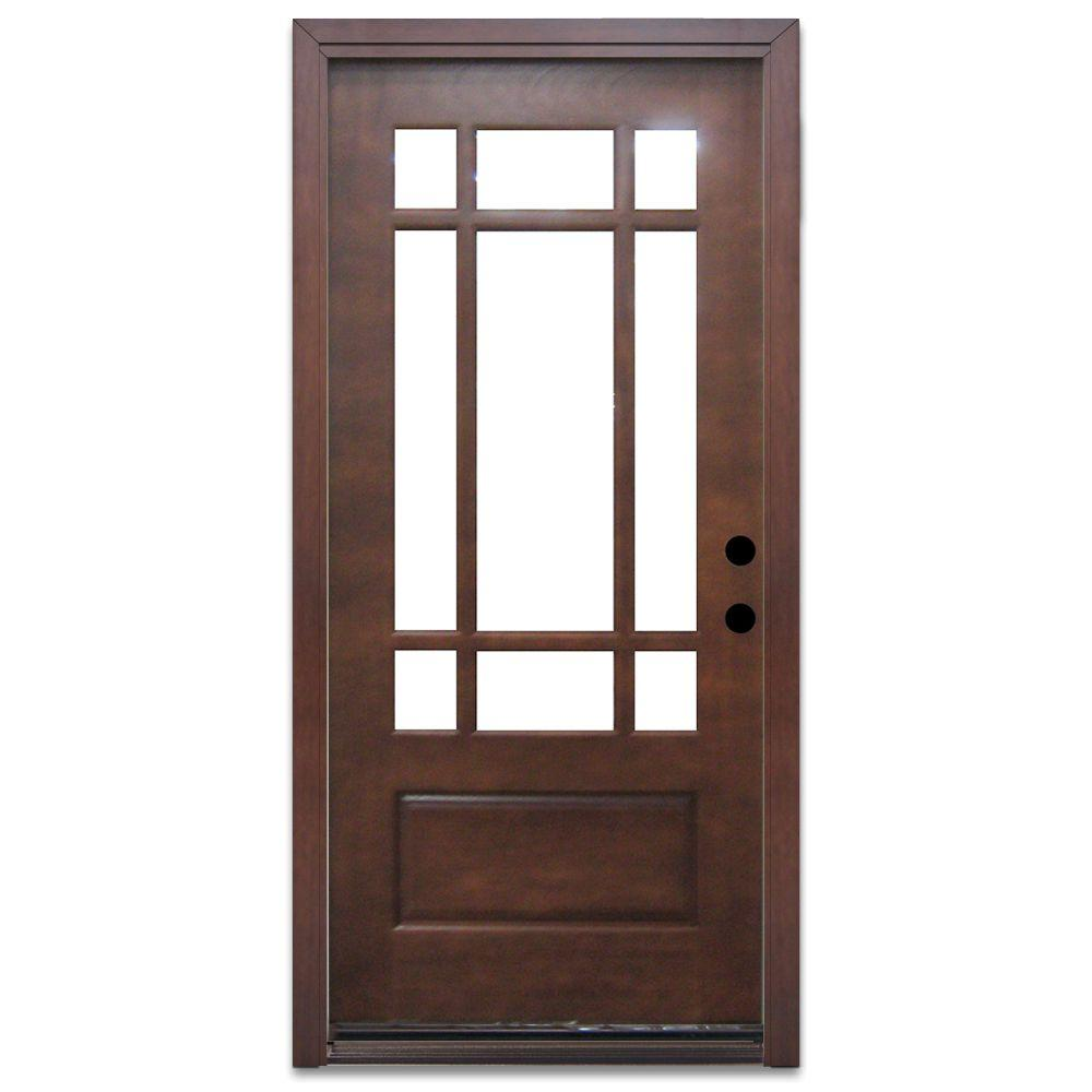 Steves & Sons Craftsman 9 Lite Prefinished Mahogany Wood Prehung Front Door - DISCONTINUED