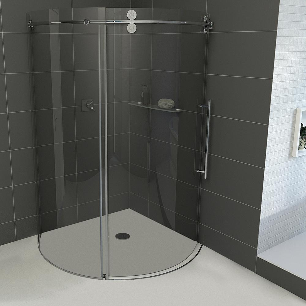Vigo Sanibel 38 in. x 74.625 in. Frameless Bypass Round Shower Enclosure Right Door in Stainless Steel