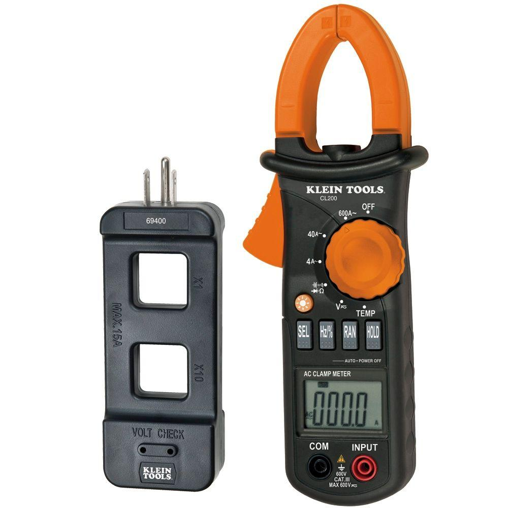Klein Tools CL200 600A AC Clamp Meter and Line Splitter Value Pack
