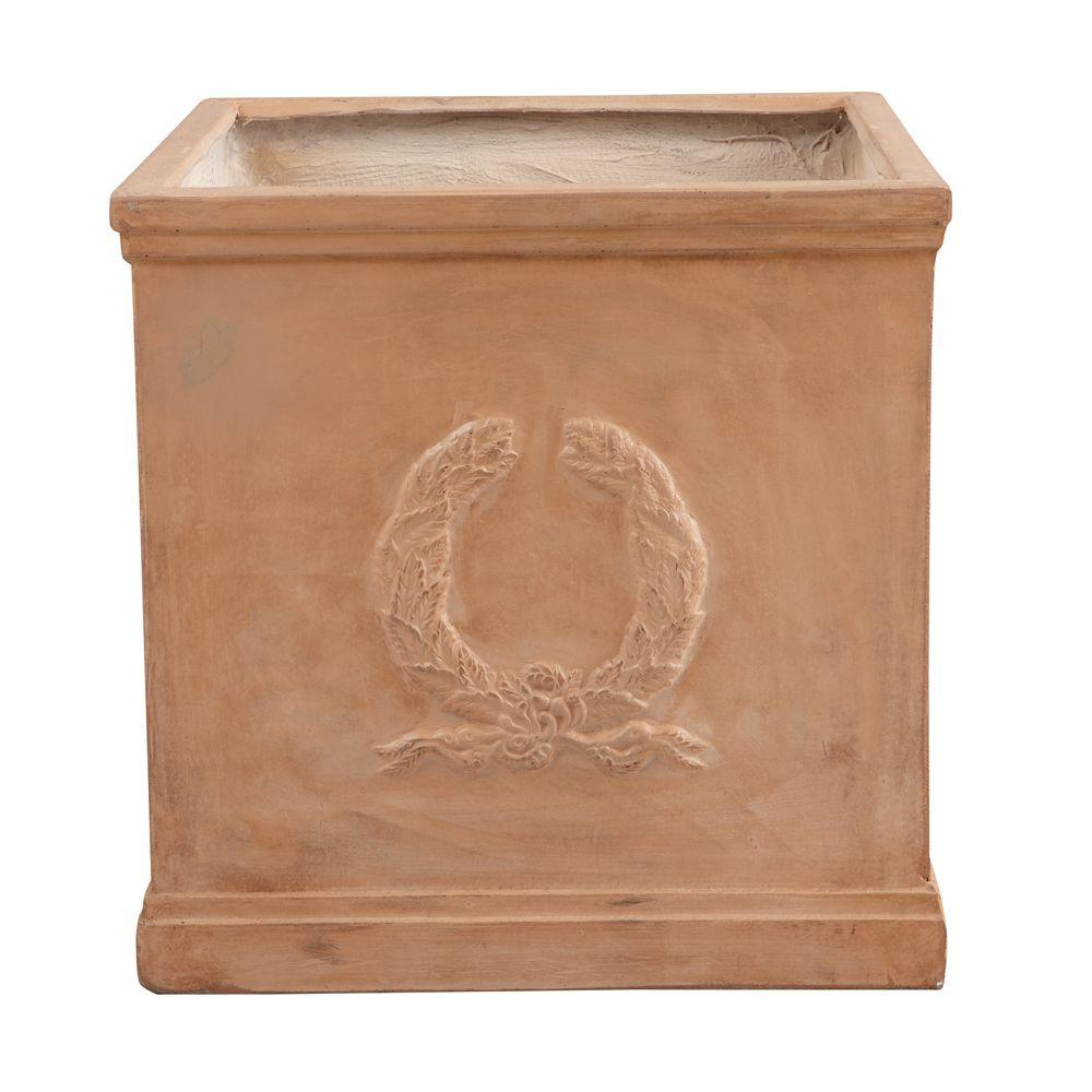 Home Decorators Collection 21.5 in. W Fiberglass Resin Olympic Wreath Terra Cotta Cube Planter-DISCONTINUED