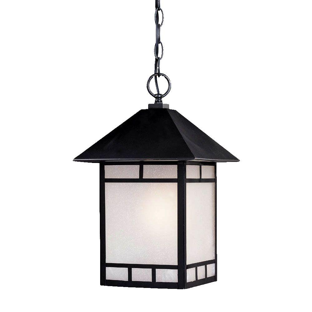 Artisan Collection 1-Light Matte Black Outdoor Hanging Lantern