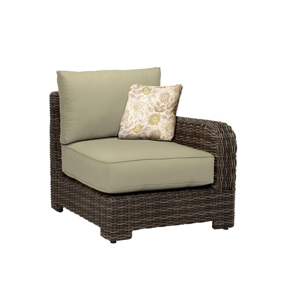 Brown Jordan Northshore Right Arm Patio Sectional Chair with Meadow Cushion and Aphrodite Spring Throw Pillow -- CUSTOM