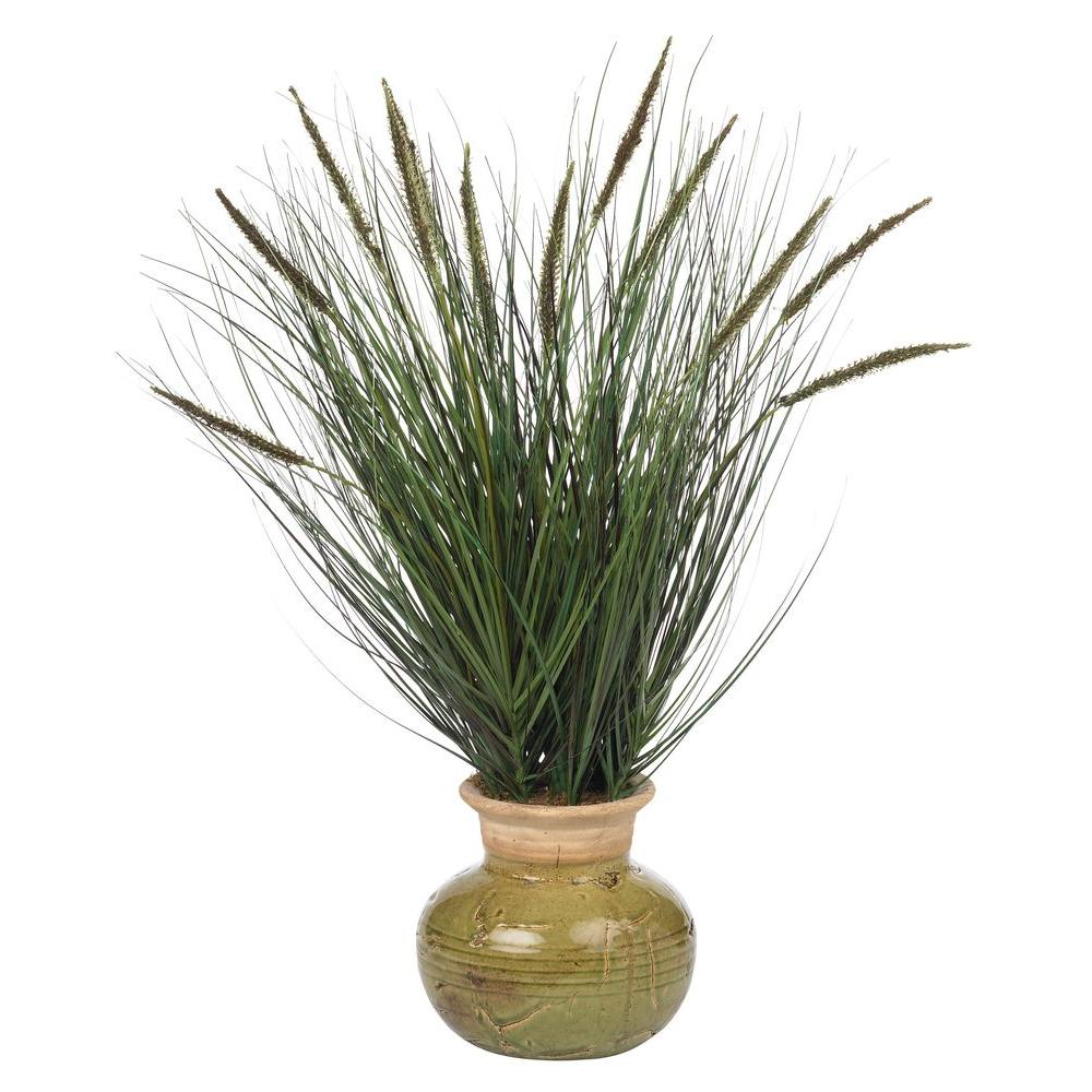 27 In. Potted Grass with Mini Cattails Silk Plant