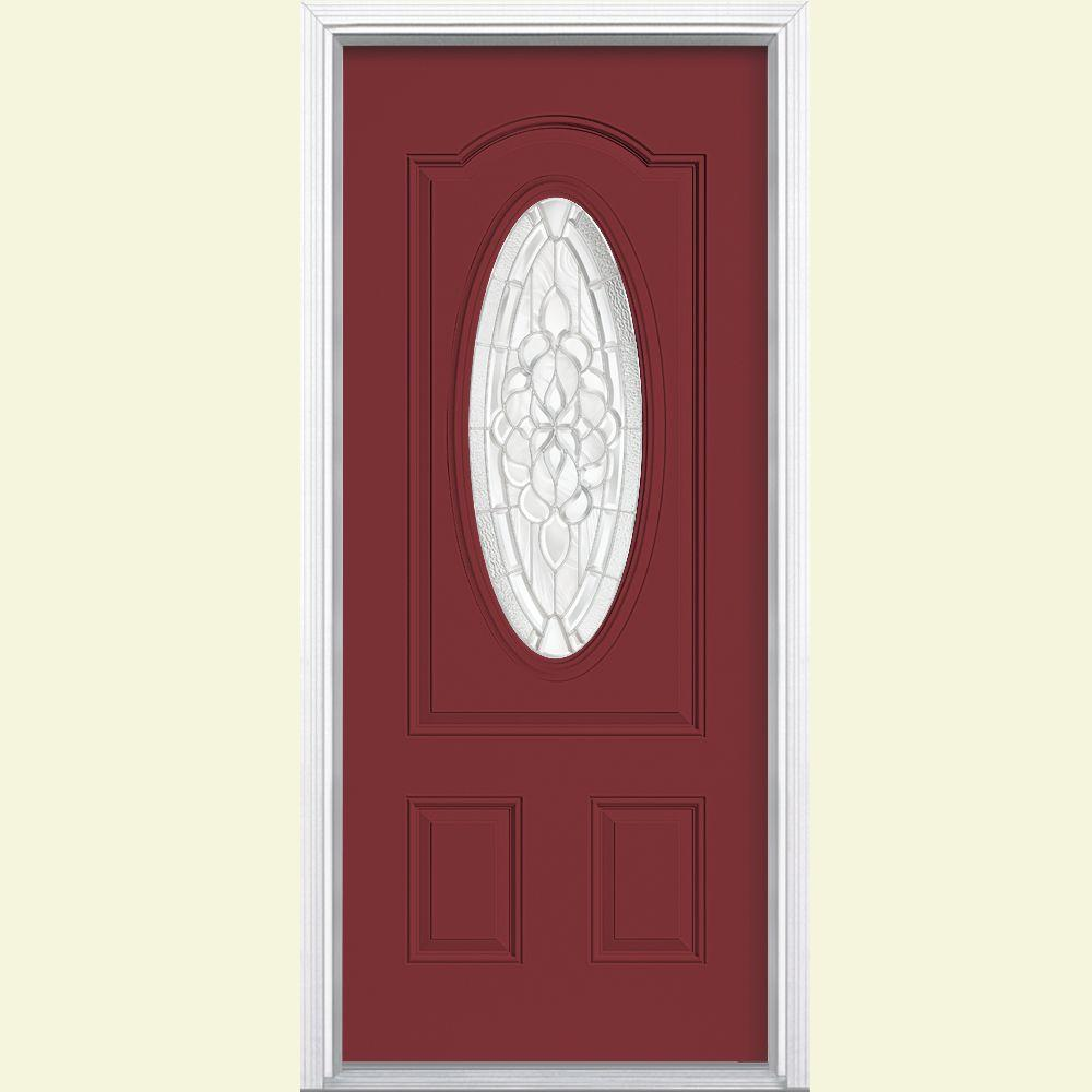Masonite 36 in. x 80 in. Oakville 3/4 Oval Lite Painted Steel Prehung Front Door with Brickmold
