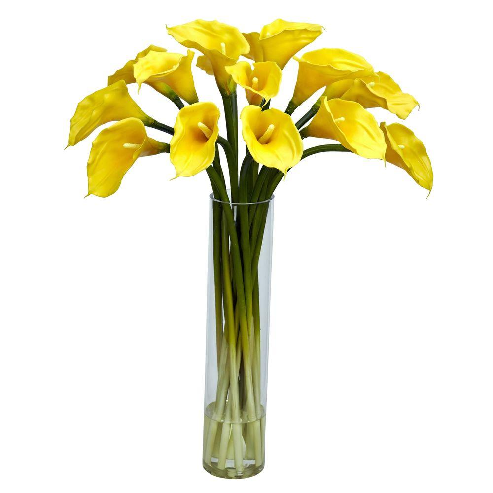 27 in. H Yellow Calla Lilly with Cylinder Silk Flower Arrangement-1251-YL