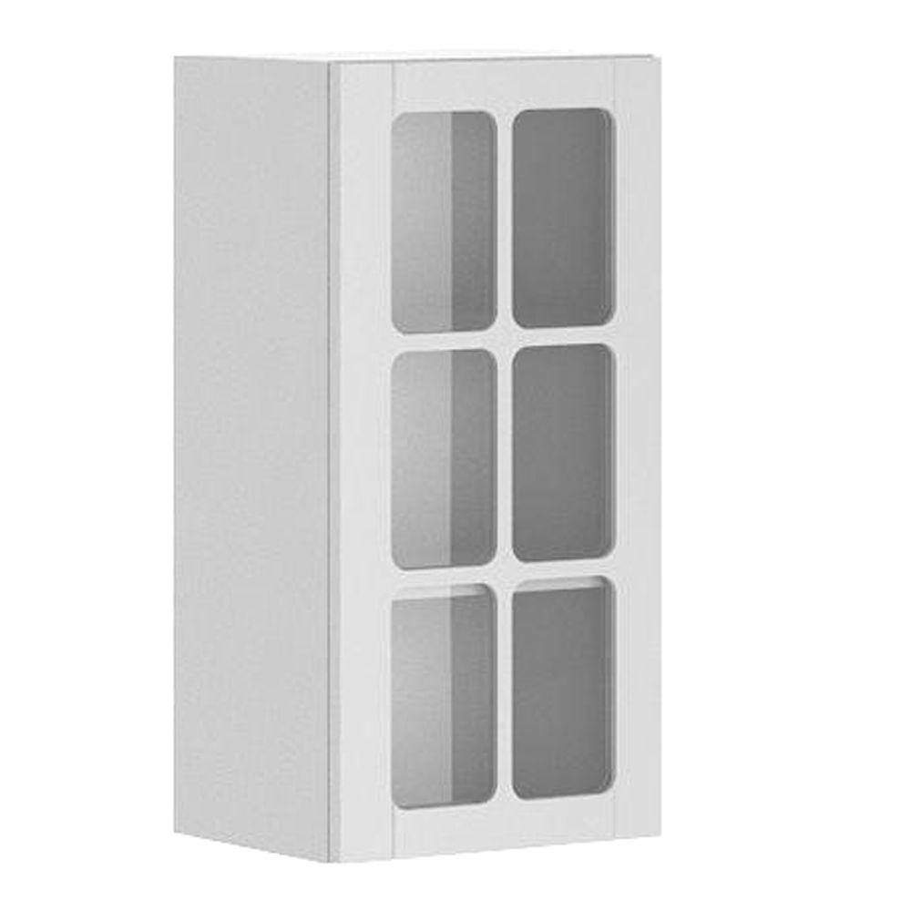 Eurostyle 15x30x12.5 in. Odessa Wall Cabinet in White Melamine and Glass Door in White