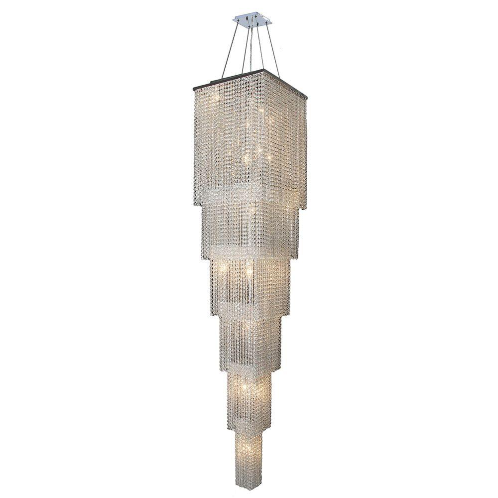 Worldwide Lighting Prism Collection 21-Light Chrome and Crystal 6-Tier Chandelier