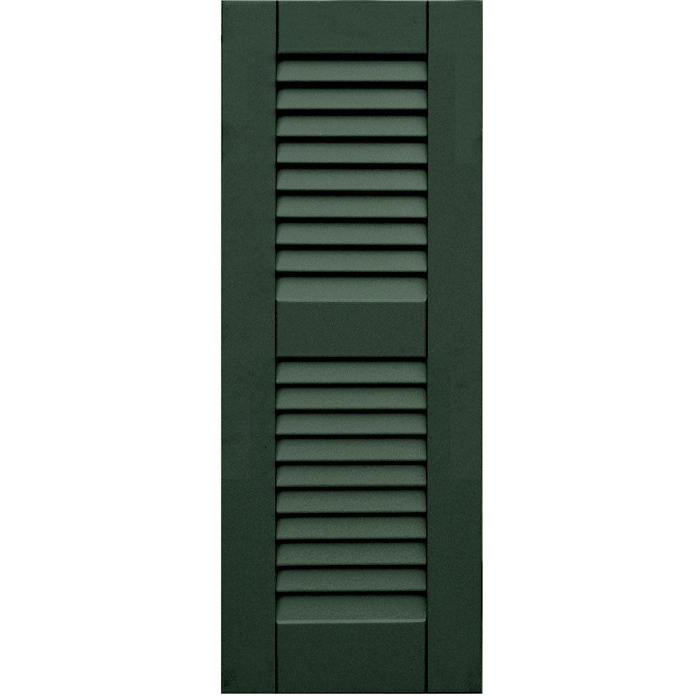 Winworks Wood Composite 12 in. x 32 in. Louvered Shutters Pair #656 Rookwood Dark Green