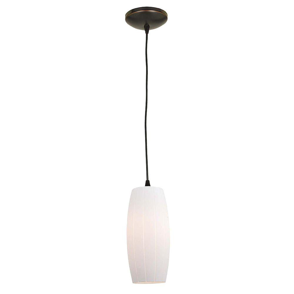 Access Lighting 1-Light Pendant Oil Rubbed Bronze Finish White Glass-DISCONTINUED