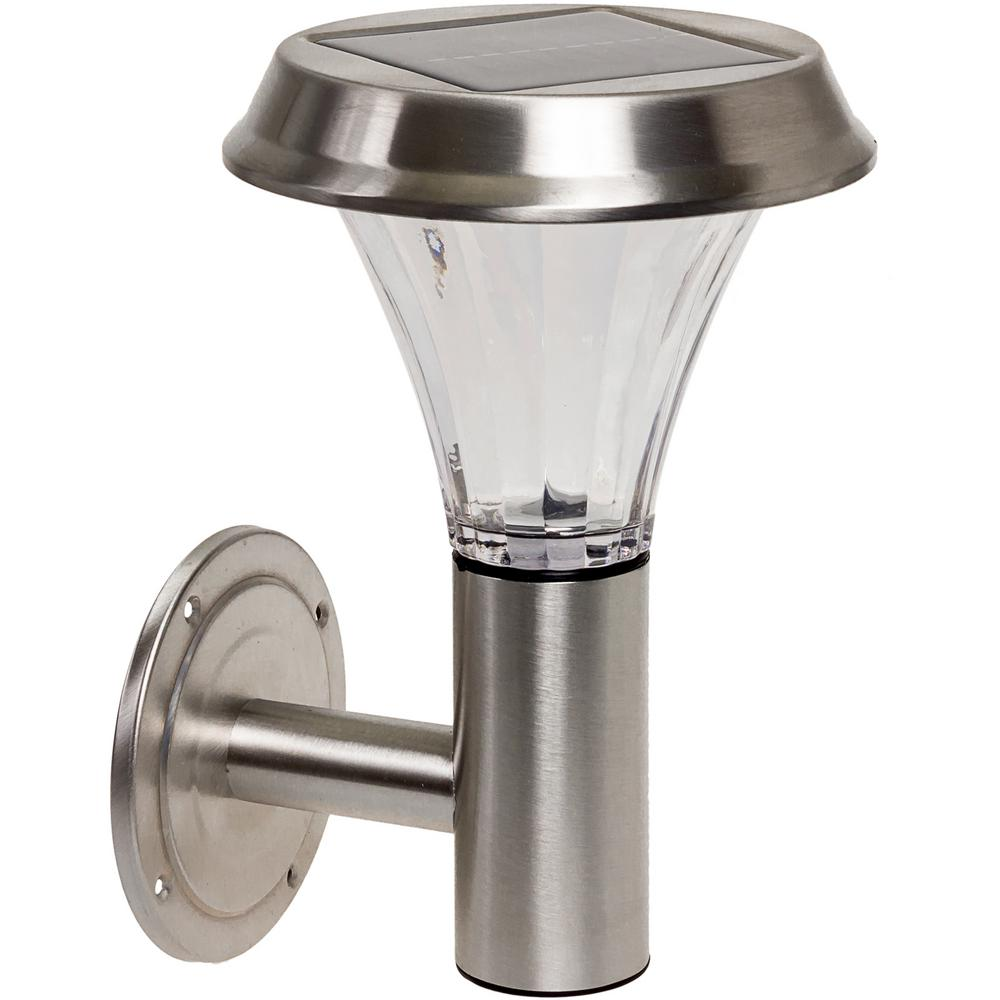 Stainless Steel Solar Powered Integrated LED Wall Mount Sconce Light