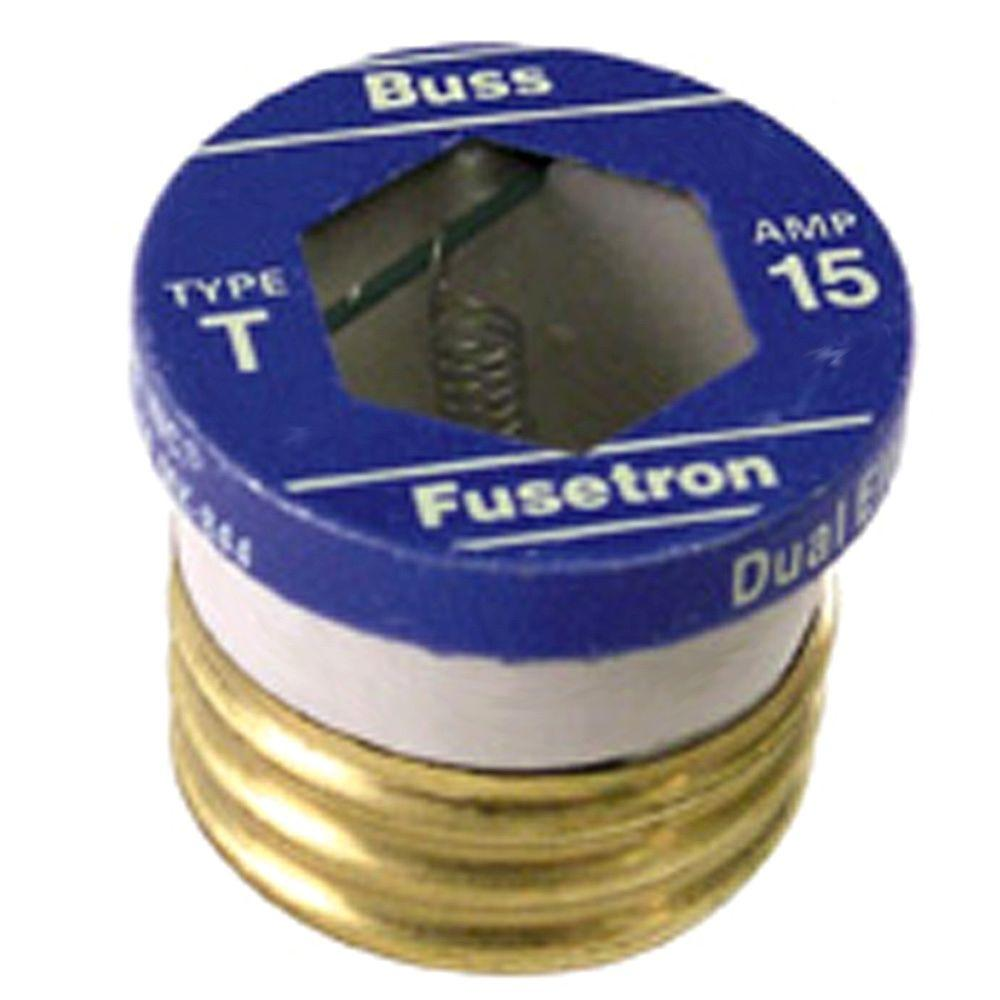 Cooper Bussmann T Series 15 Amp Carded Plug Fuses (2-Pack)-BP/T-15 -