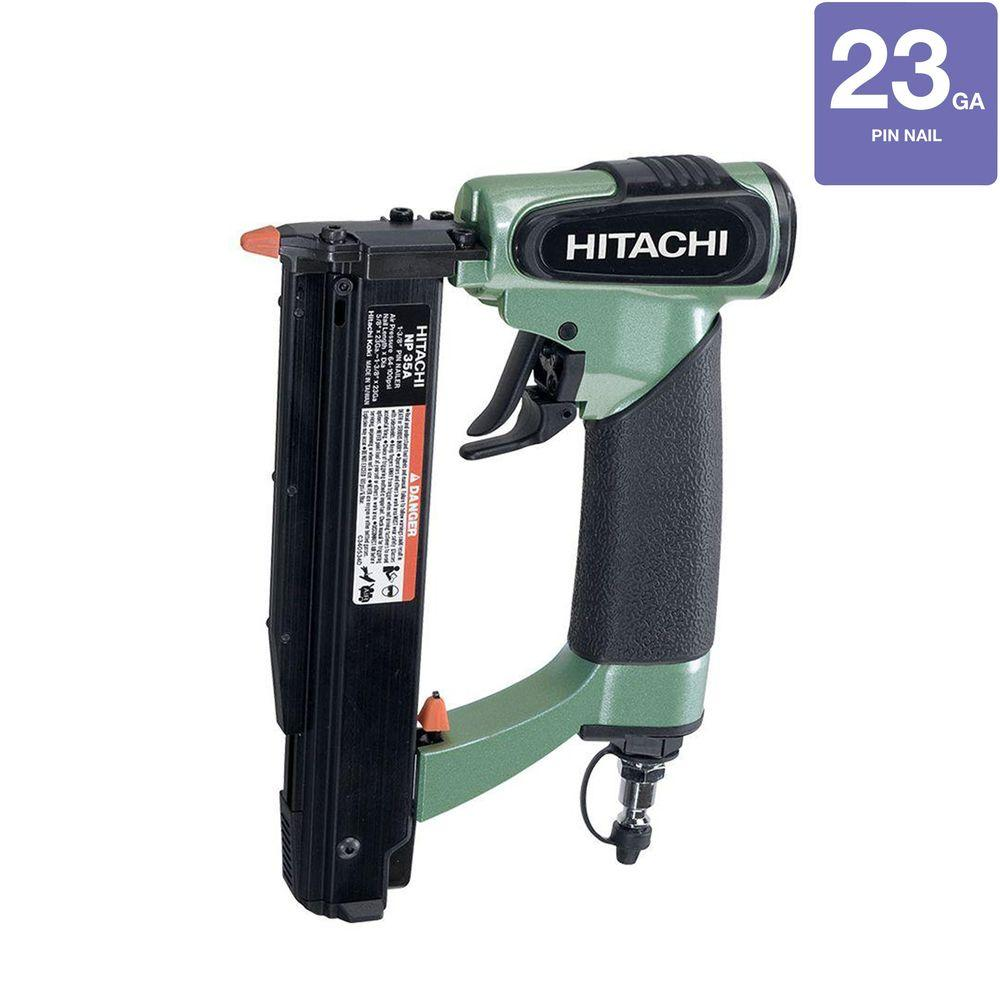 Hitachi 1-3/8 in. x 23-Gauge Micro Pin Nailer with Carrying Case, Safety Glasses, Male Plug and Hex Bar Wrench