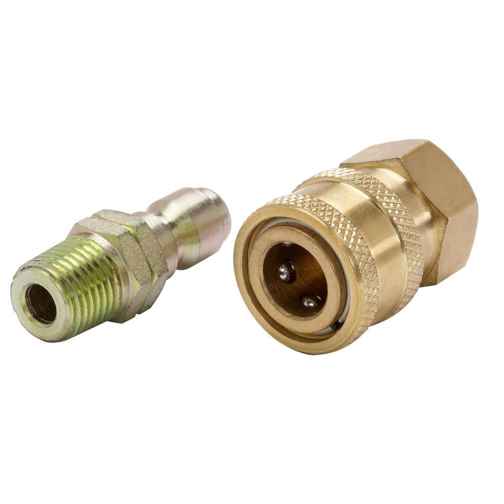 Power Care 1/4 in. Male to 1/4 in. Female Quick-Connect NPT Brass Coupler