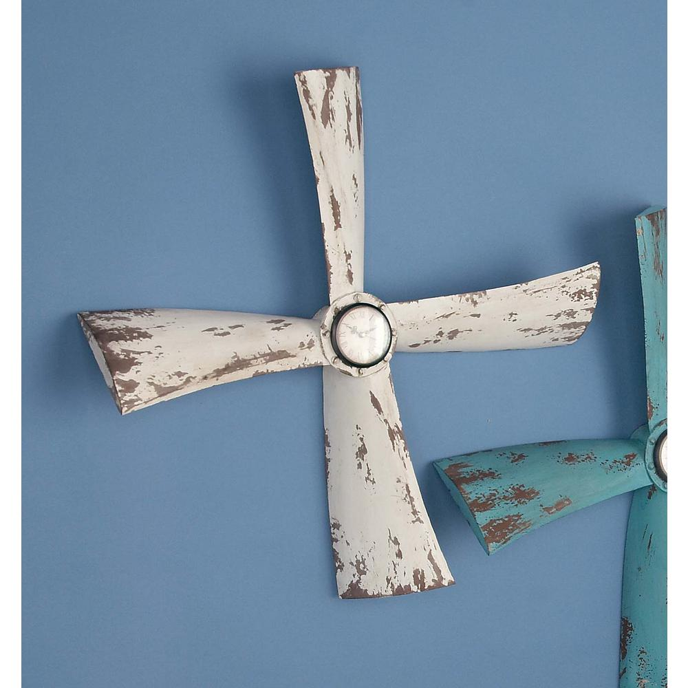 22 in. x 22 in. Distressed White Iron Propeller Wall Clock